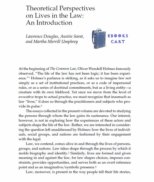 Download Lives in the Law (The Amherst Series in Law, Jurisprudence, and Social Thought) by Austin Sarat, Lawrence Douglas, Martha Umphrey PDF Free