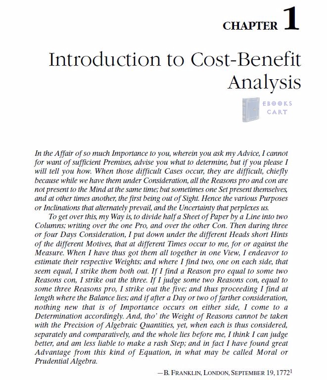 Cost Benefit Analysis Book