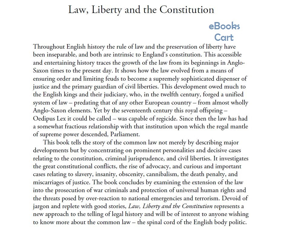 Download Law, Liberty and the Constitution: A Brief History of the Common Law by Harry Potter PDF Free
